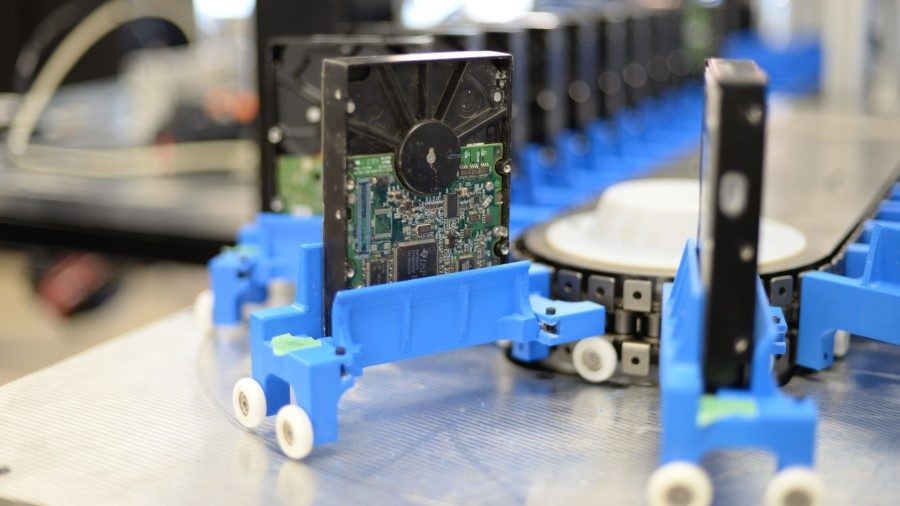 Greentec robots helping to dismantle hard drives to recover valuable components